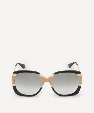 Oversized Square Web Stripe Sunglasses