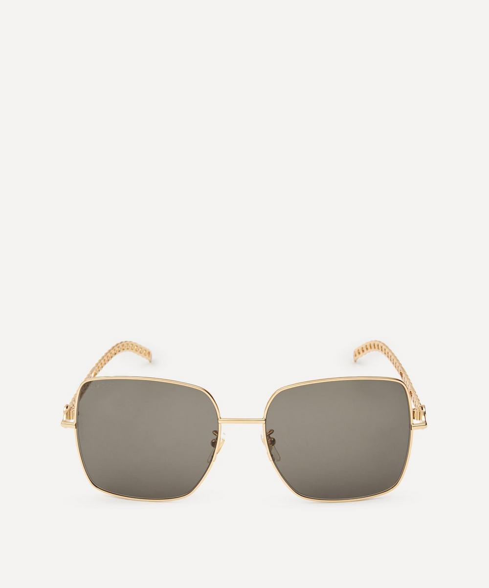 Gucci - Oversized Square Metal Logo Charm Sunglasses
