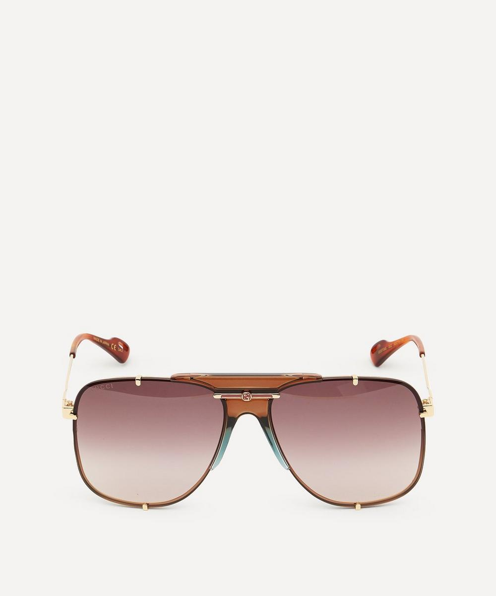 Gucci - Metal Pilot Double-Bridge Sunglasses