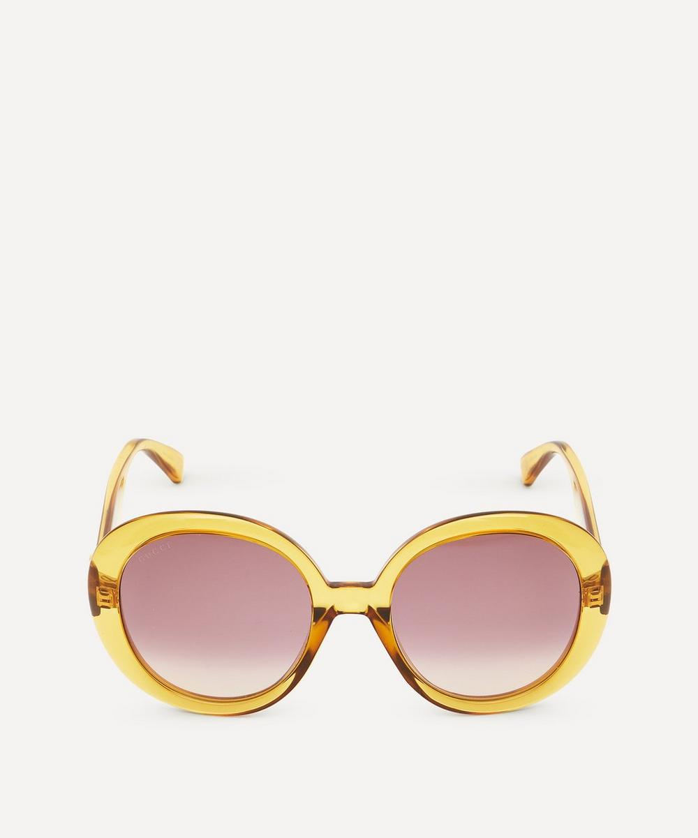 Gucci - Oversized Oval Web Stripe Acetate Sunglasses