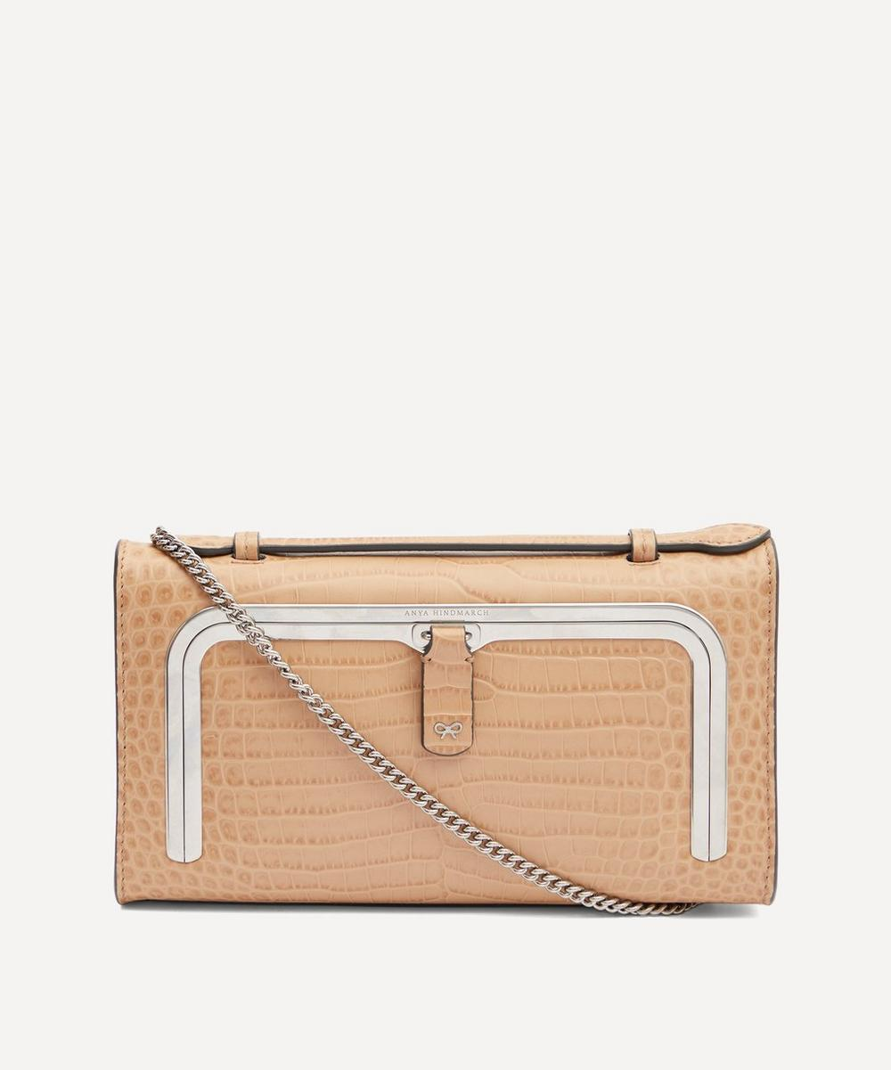 Anya Hindmarch - Croc-Embossed Leather Mini Postbox Cross-Body BagCroc-Embossed Leather Mini Postbox Cross-Body Bag