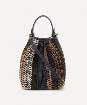 Small Neeson Woven Leather Drawstring Cross-Body Bag