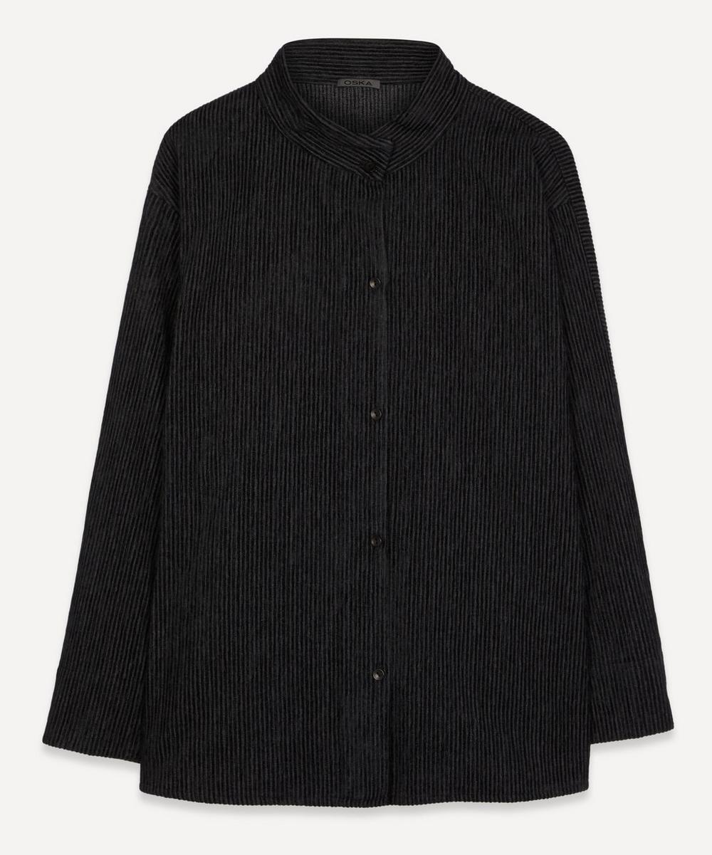 Oska - Stige Ribbed Velvet Collarless Shirt