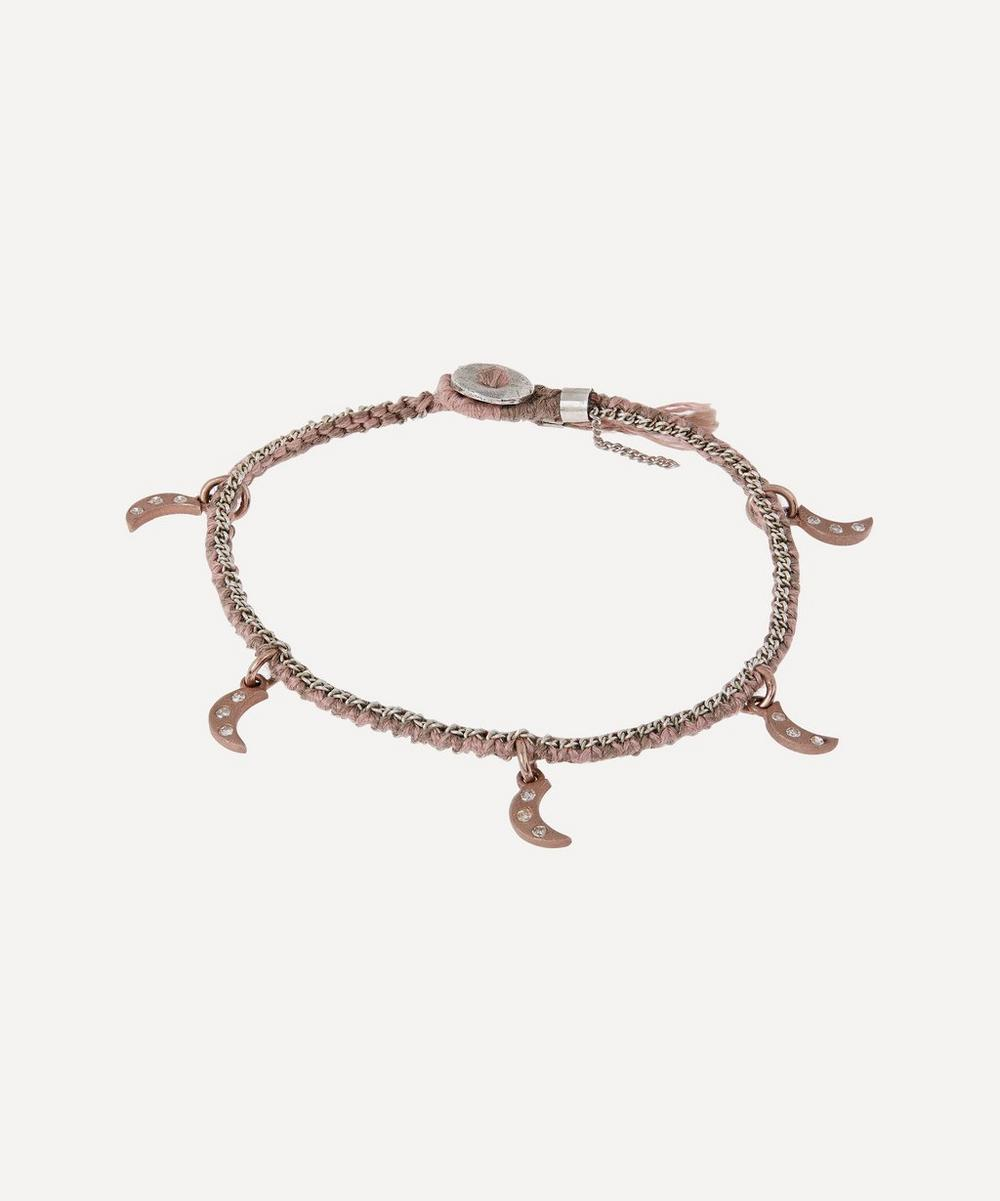 Brooke Gregson - Gold Crescent Pendant Diamond Silk Bracelet