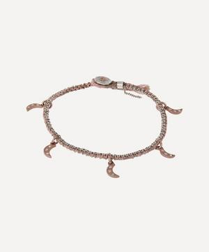 Gold Crescent Pendant Diamond Silk Bracelet