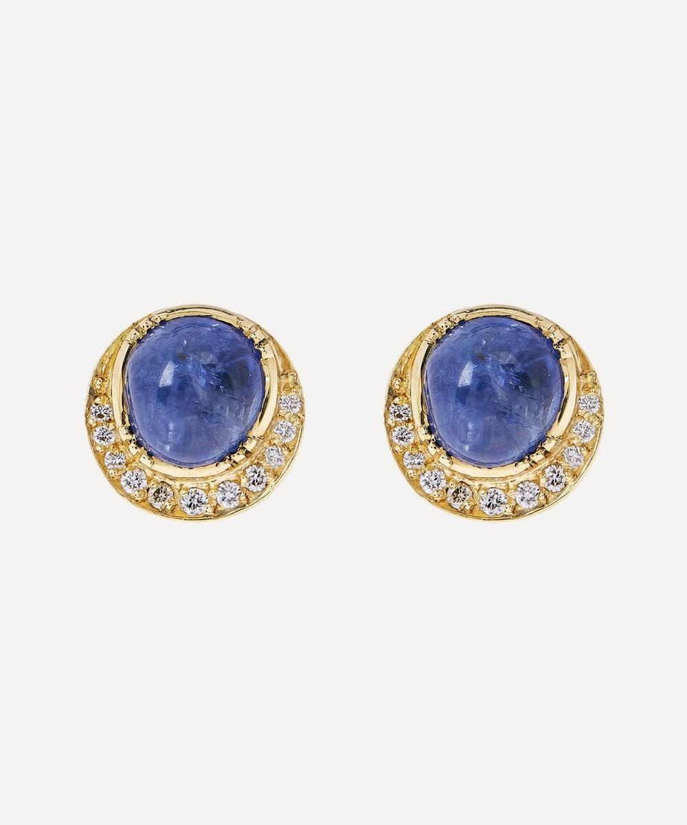Brooke Gregson - Orbit Sapphire Halo Stud Earrings