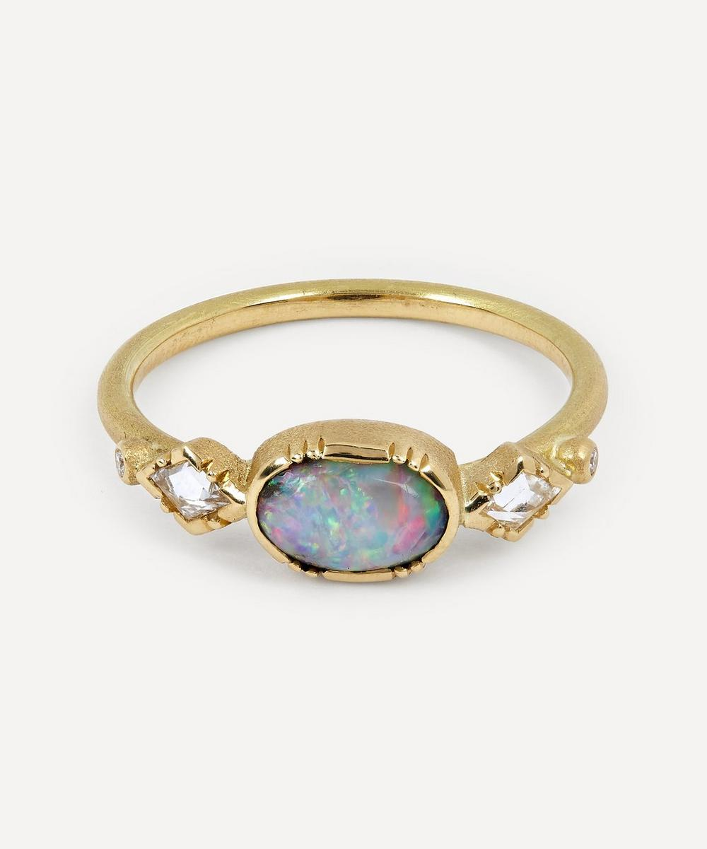 Brooke Gregson - Ellipse Boulder Opal Gold Geo Ring
