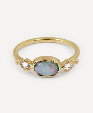 Ellipse Boulder Opal Gold Geo Ring