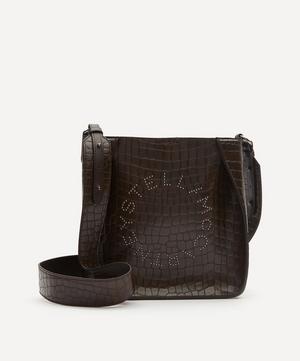Mini Stella Logo Croc-Effect Faux Leather Shoulder Bag