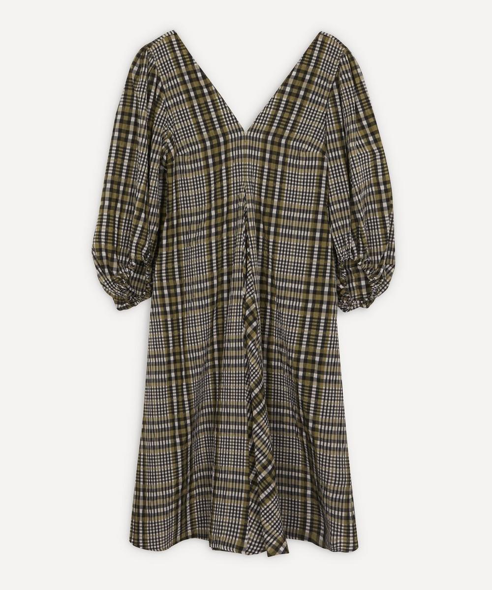 Ganni - Check Seersucker Exaggerated Sleeve Dress