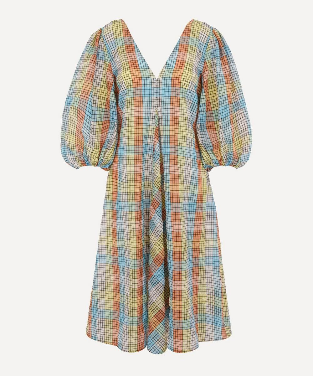 Ganni - Check Seersucker Exaggerated Sleeve Dress