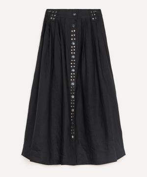 Studded Linen Midi-Skirt
