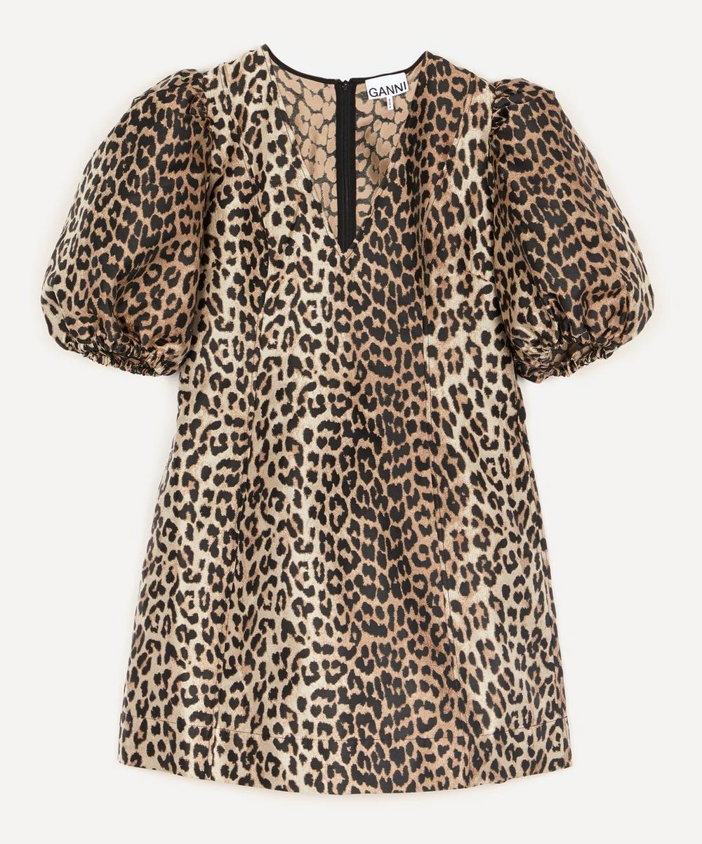 Ganni - Leopard Crispy Jacquard Exaggerated Sleeve Dress