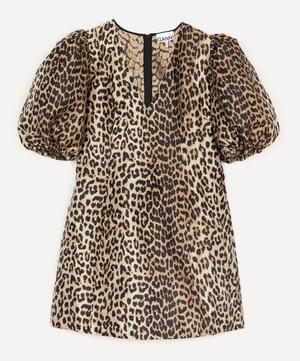 Leopard Crispy Jacquard Exaggerated Sleeve Dress