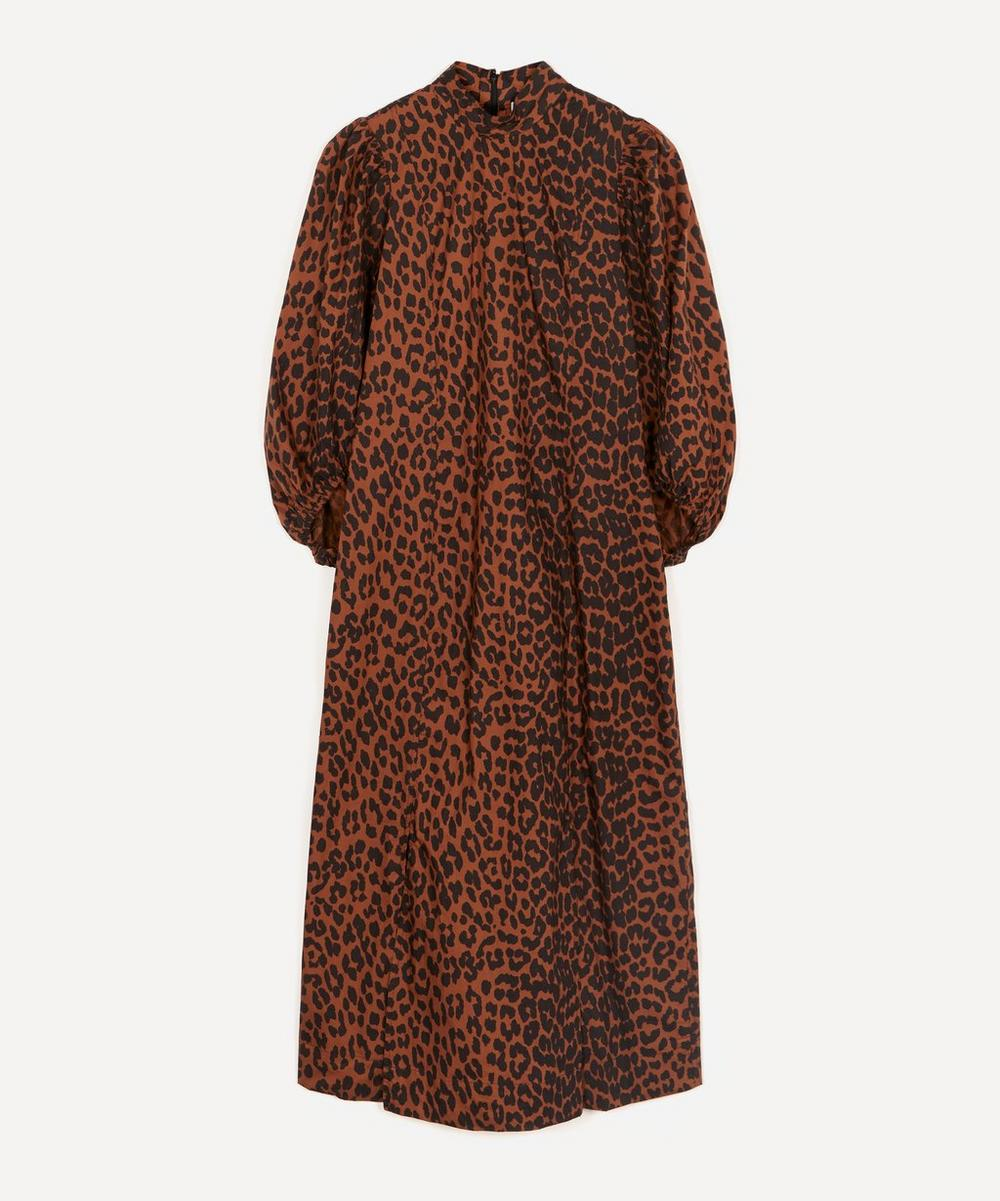 Ganni - High-Neck Leopard Cotton-Poplin Dress