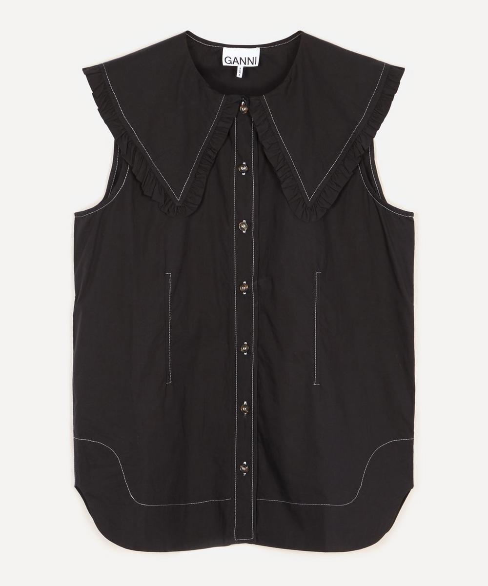 Ganni - Ruffle Collar Organic Cotton Top