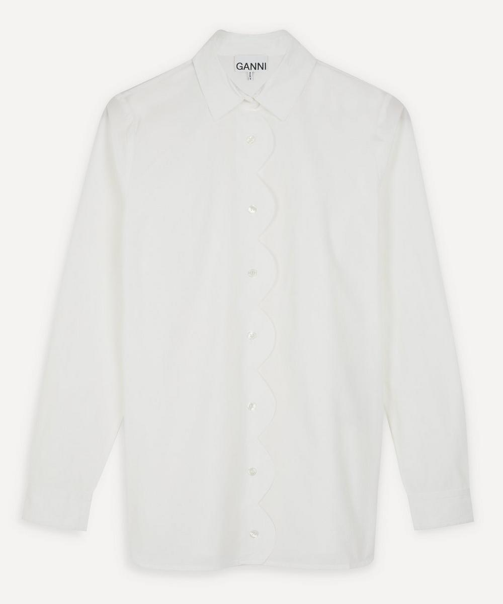 Ganni - Scalloped Cotton-Poplin Shirt