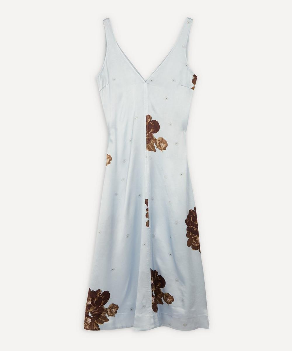 Ganni - Heavy Satin Flower Print Slip Midi-Dress