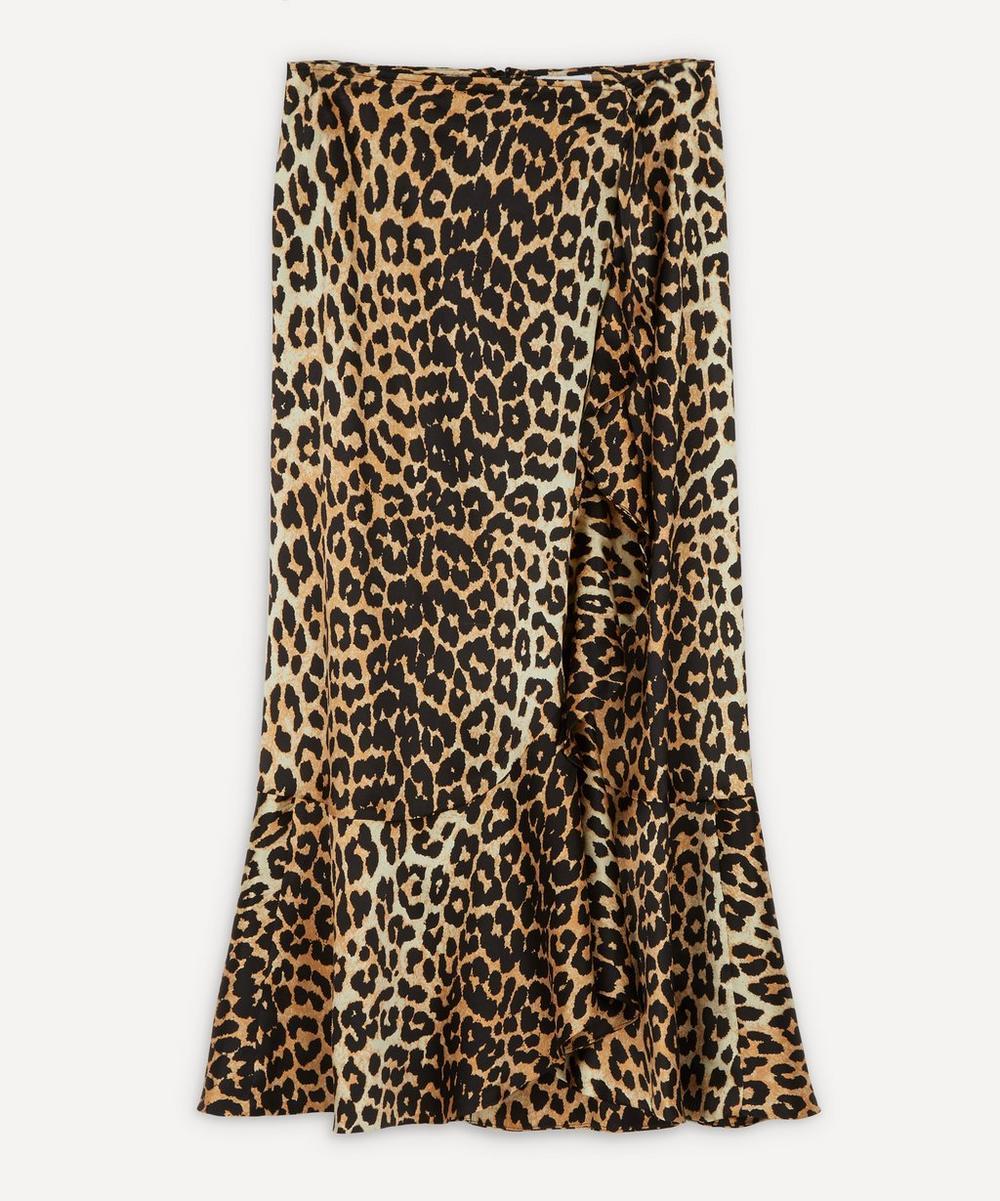 Ganni - Leopard Silk-Blend Ruffle Skirt