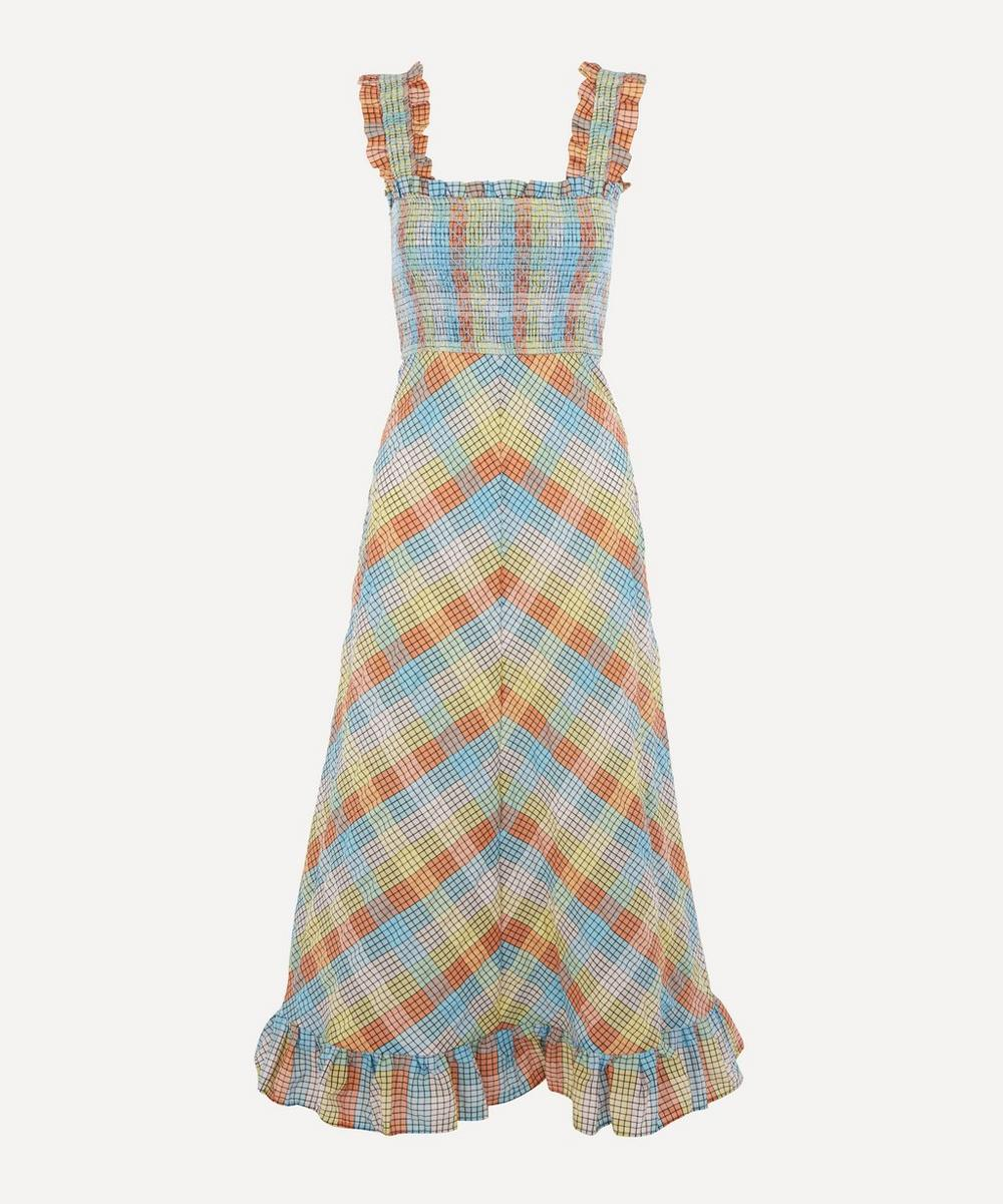 Ganni - Checked Seersucker Smock Dress