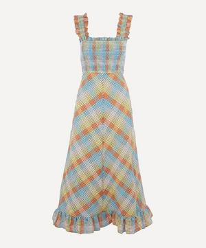 Checked Seersucker Smock Dress