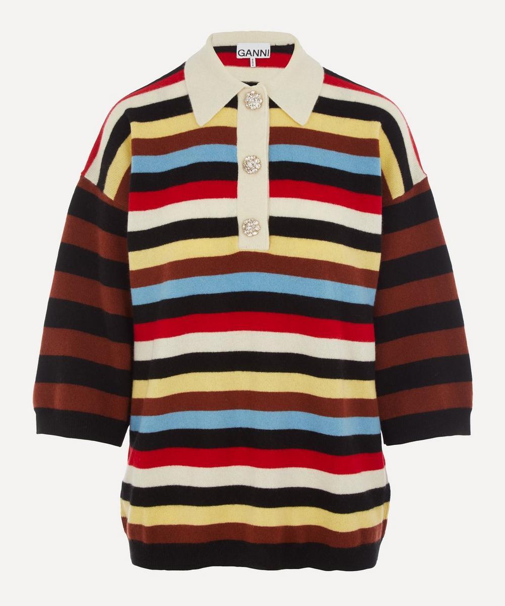 Ganni - Striped Cashmere Polo-Shirt