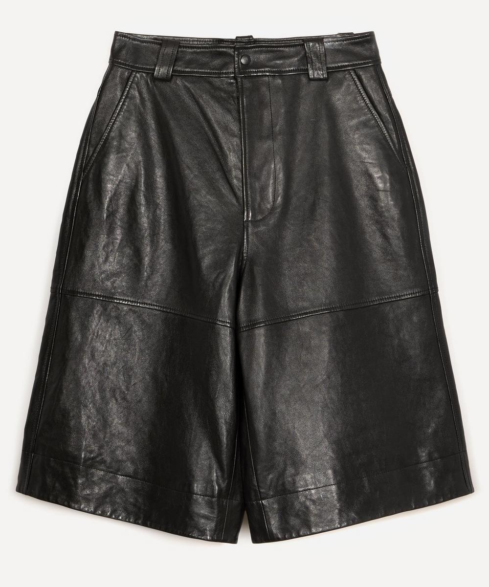 Ganni - Lamb Leather Long Shorts