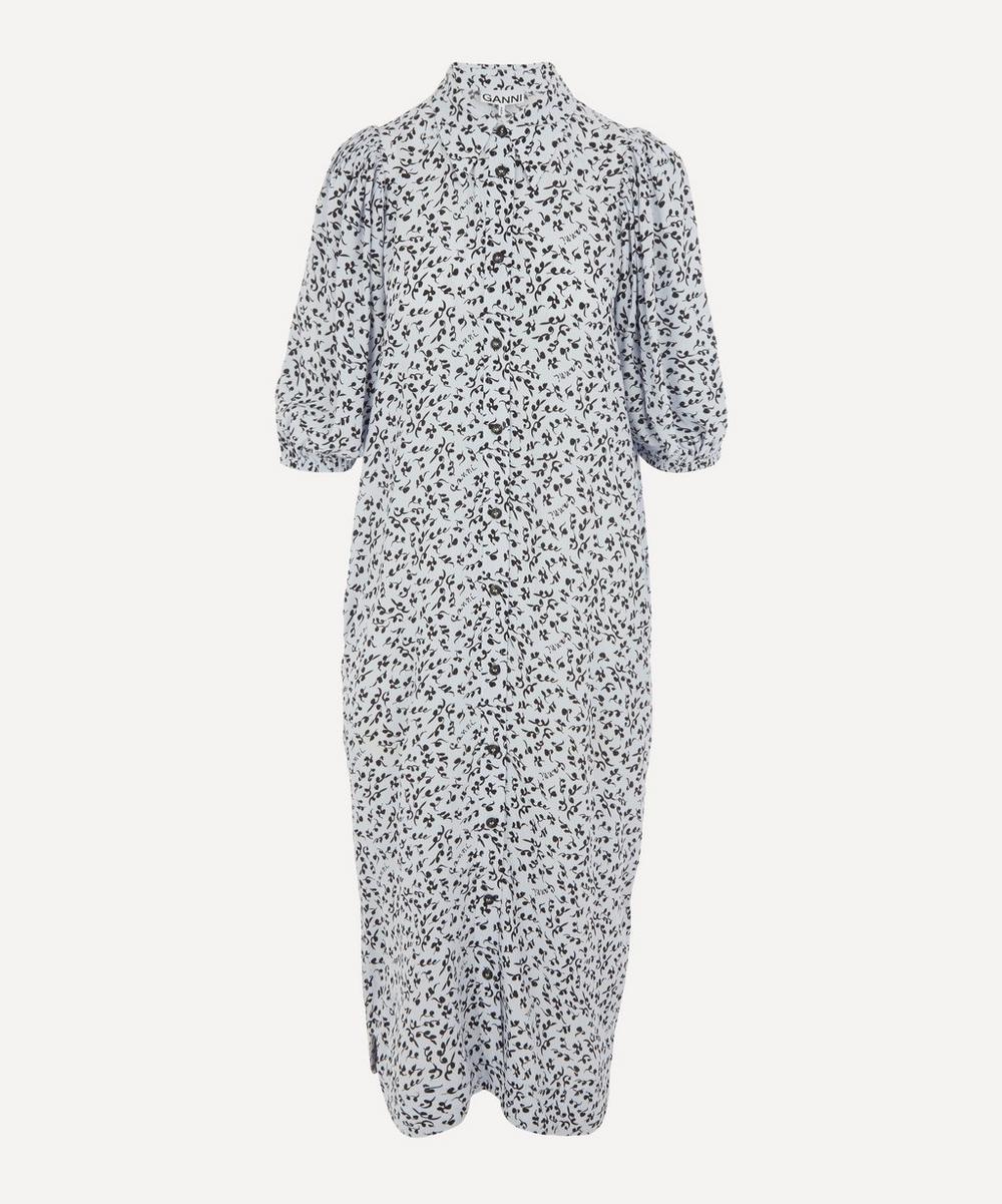 Ganni - Printed Crepe Puff-Sleeve Midi-Dress