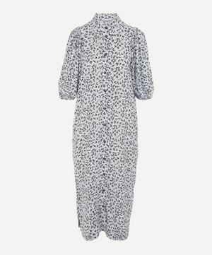 Printed Crepe Puff-Sleeve Midi-Dress