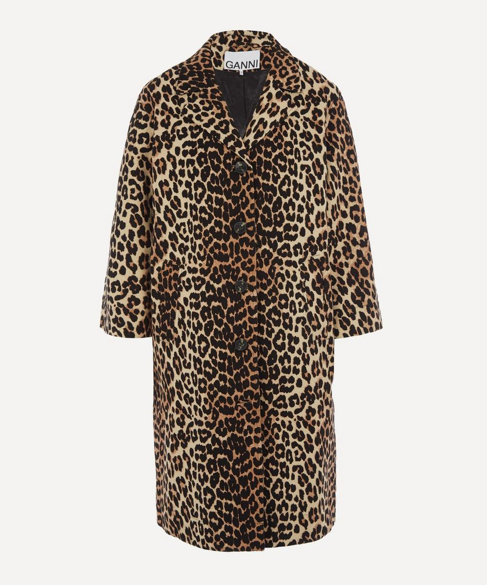 Ganni - Leopard Linen-Canvas Coat