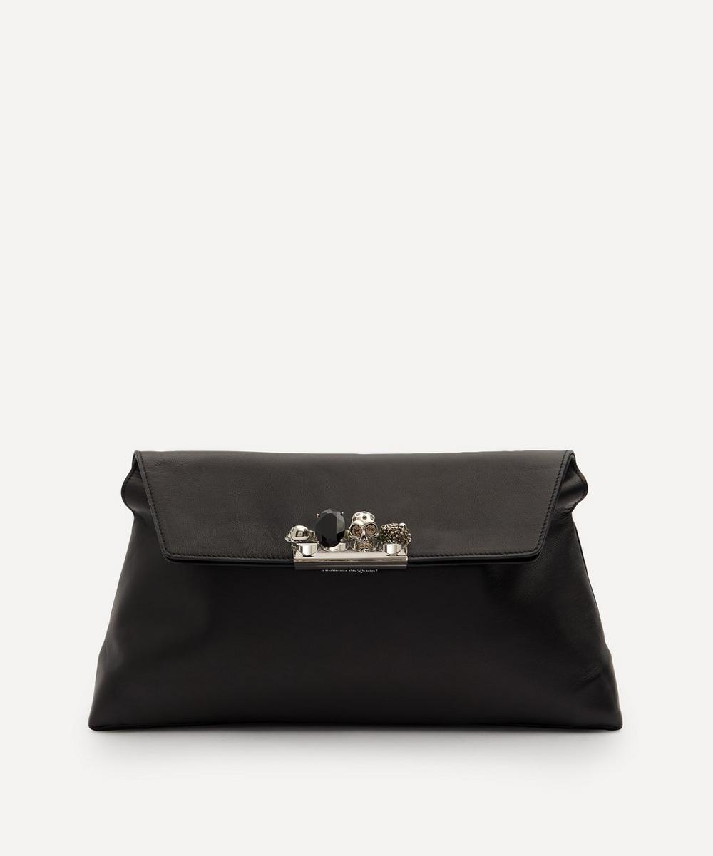 Alexander McQueen - Skull Four-Ring Soft Leather Clutch Bag