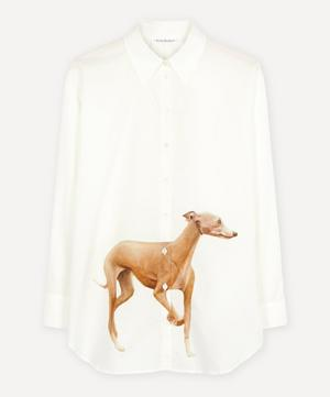Dog-Print Cotton Poplin Shirt