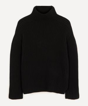 High-Neck Ribbed Wool Jumper