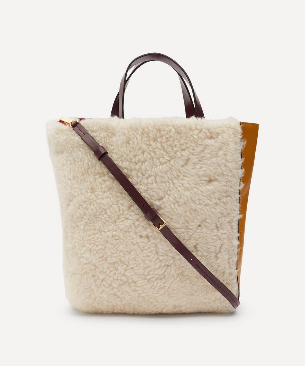 Marni - Museo Shearling and Leather Tote Bag