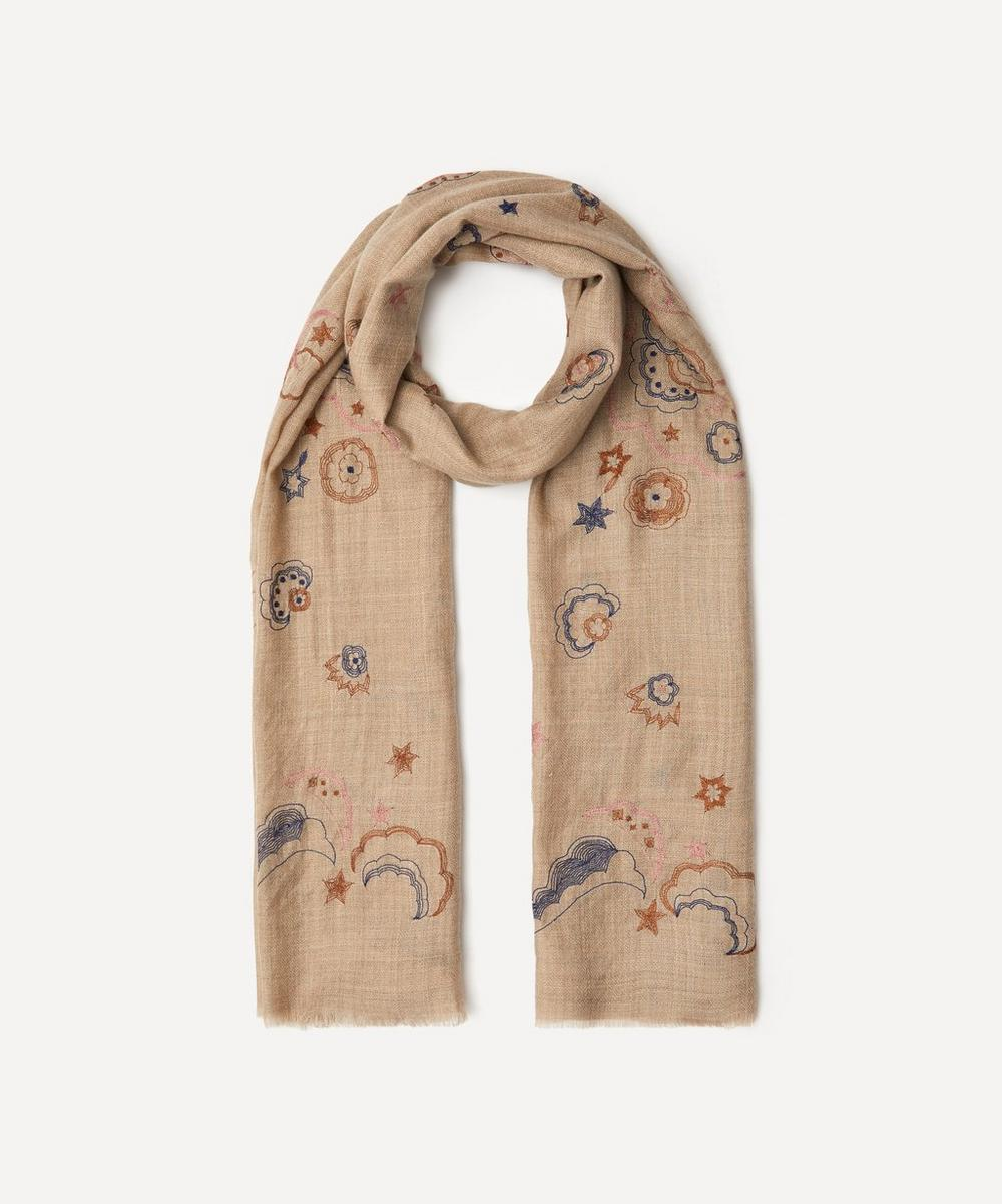 Lily and Lionel - Mystical Swan Embroidered Wool-Blend Scarf