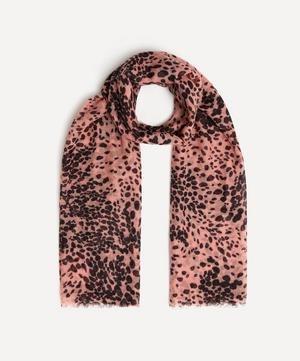 Painted Leopard Print Cashmere Scarf
