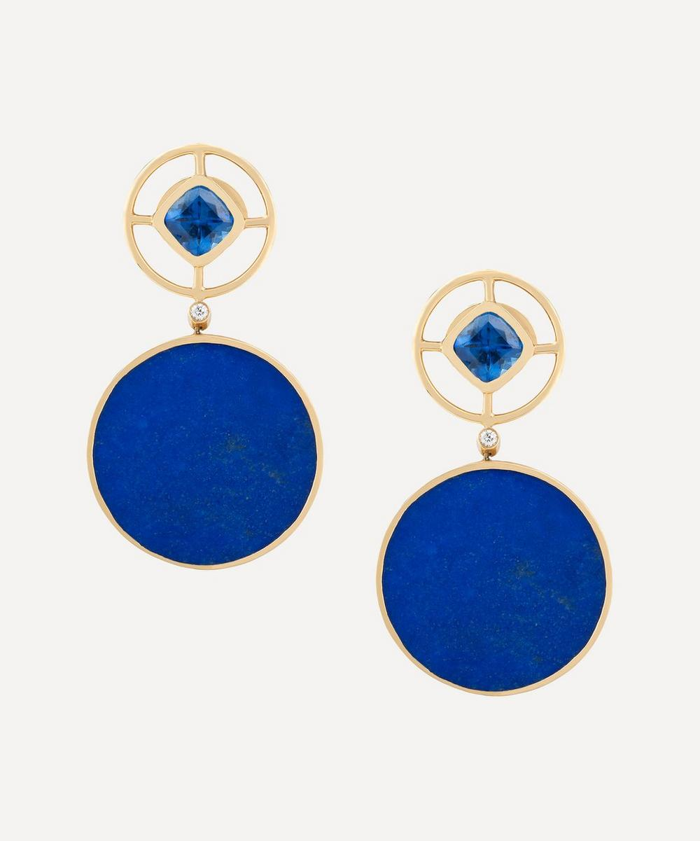 Kojis - Gold Lapis Lazuli and Iolite Earrings