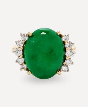 Gold Natural Jade and Diamond Ring