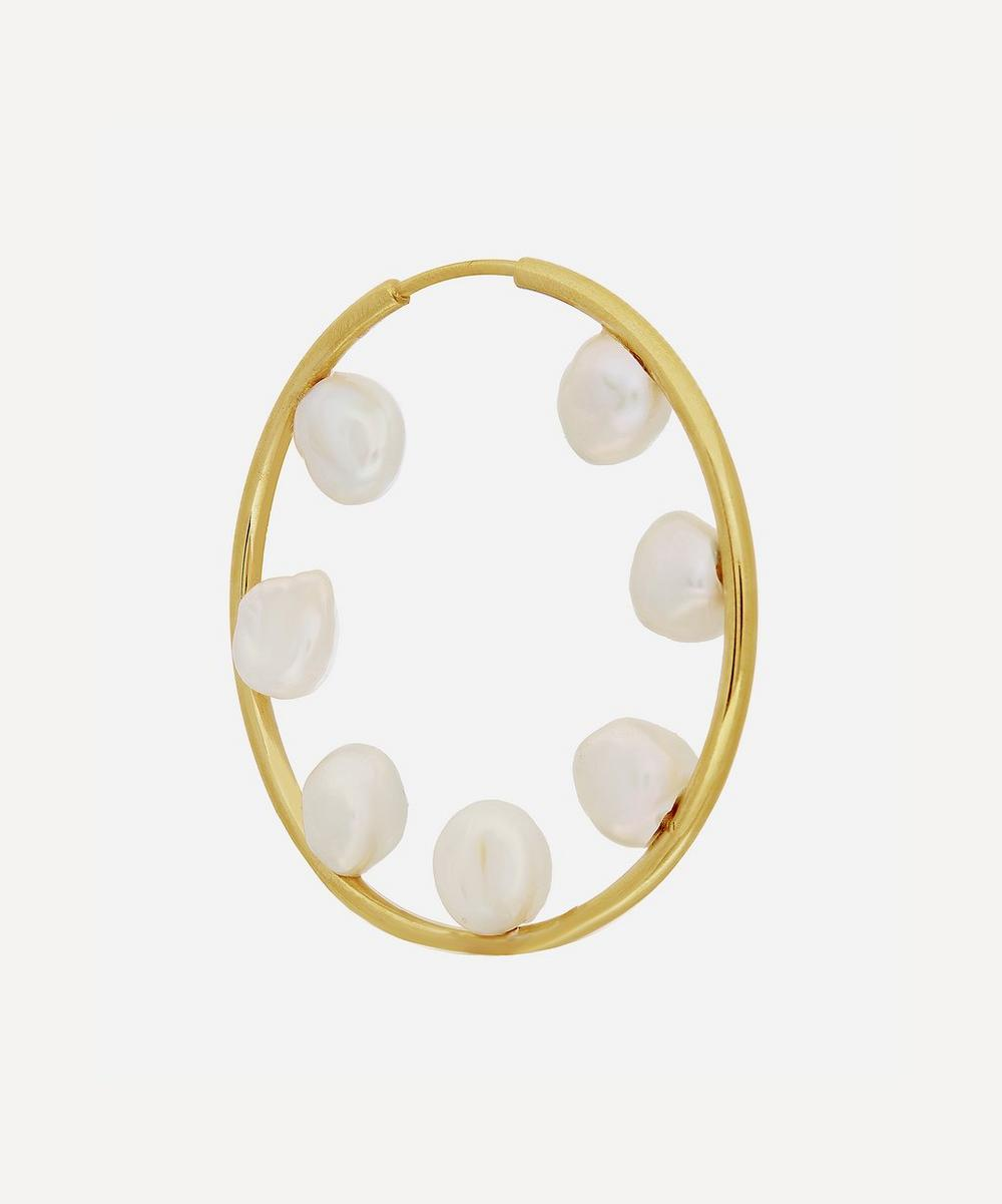 Maria Black - Gold-Plated Baroque 50 Pearl Hoop Earring