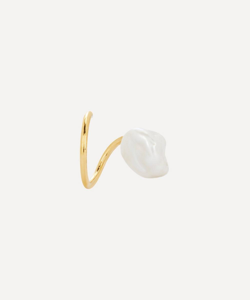 Maria Black - Gold-Plated Baroque Pearl Twirl Earring Right