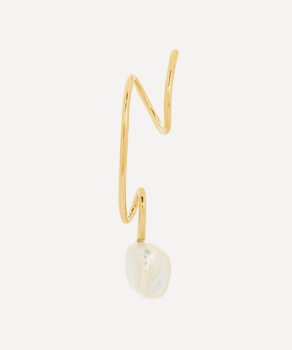 Maria Black - Gold-Plated Detour Baroque Pearl Twirl Earring Left