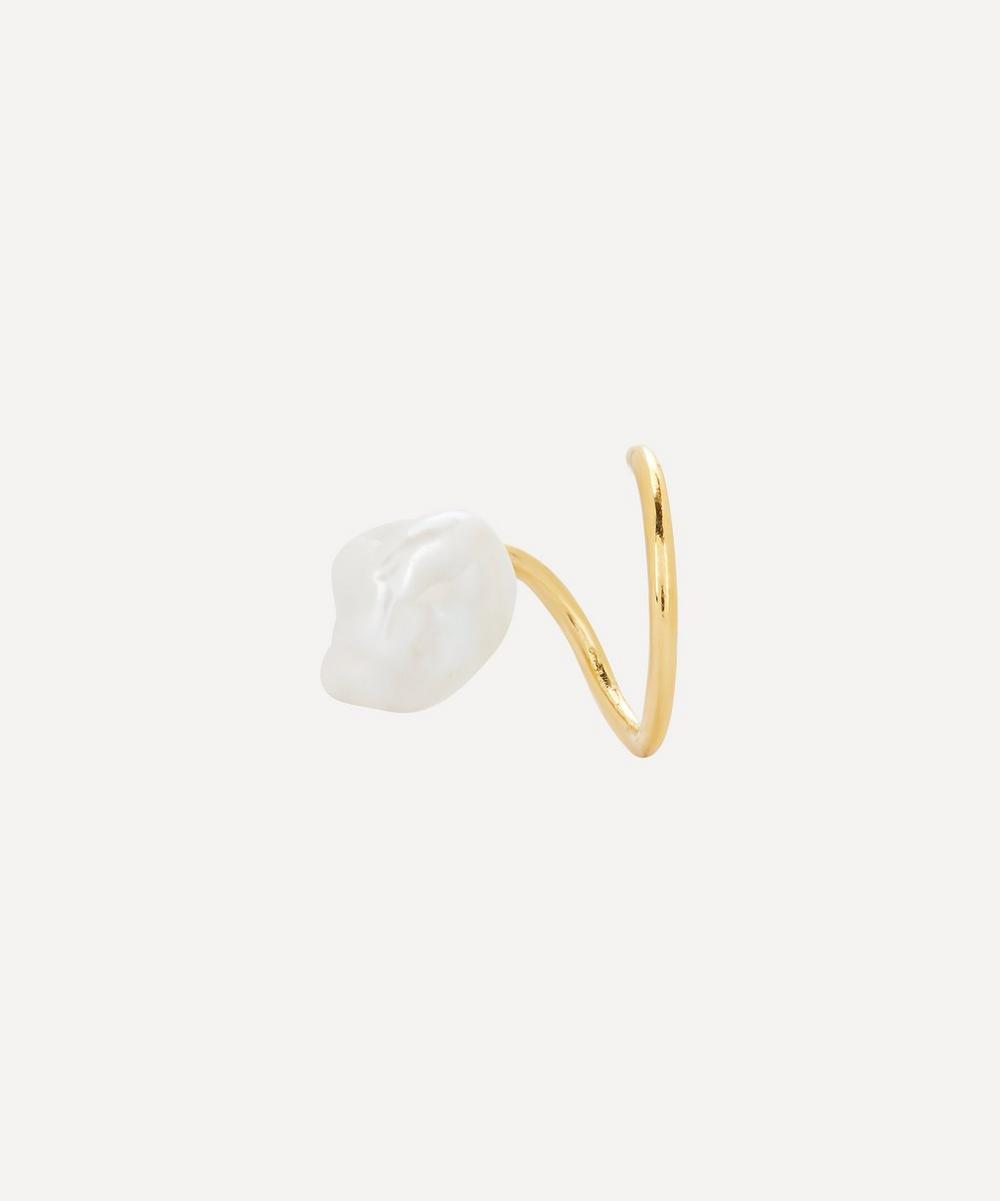 Maria Black - Gold-Plated Baroque Pearl Twirl Earring Left