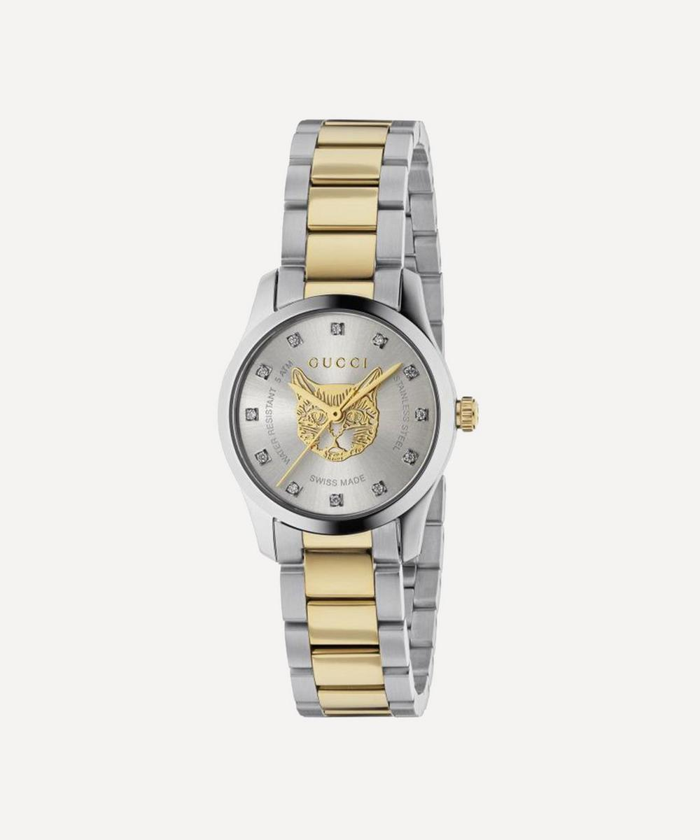 Gucci - G-Timeless Stainless Steel Feline Motif and Diamond Watch