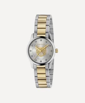 G-Timeless Stainless Steel Feline Motif and Diamond Watch