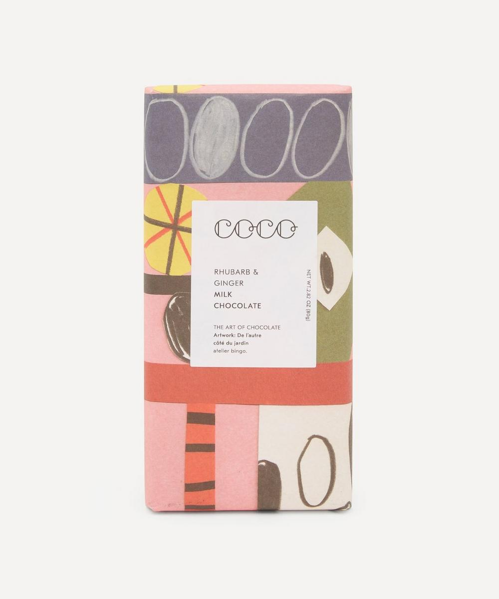 Coco Chocolatier - Milk Rhubarb and Ginger Chocolate Bar 80g