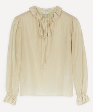 Frill Collar Silk-Blend Blouse