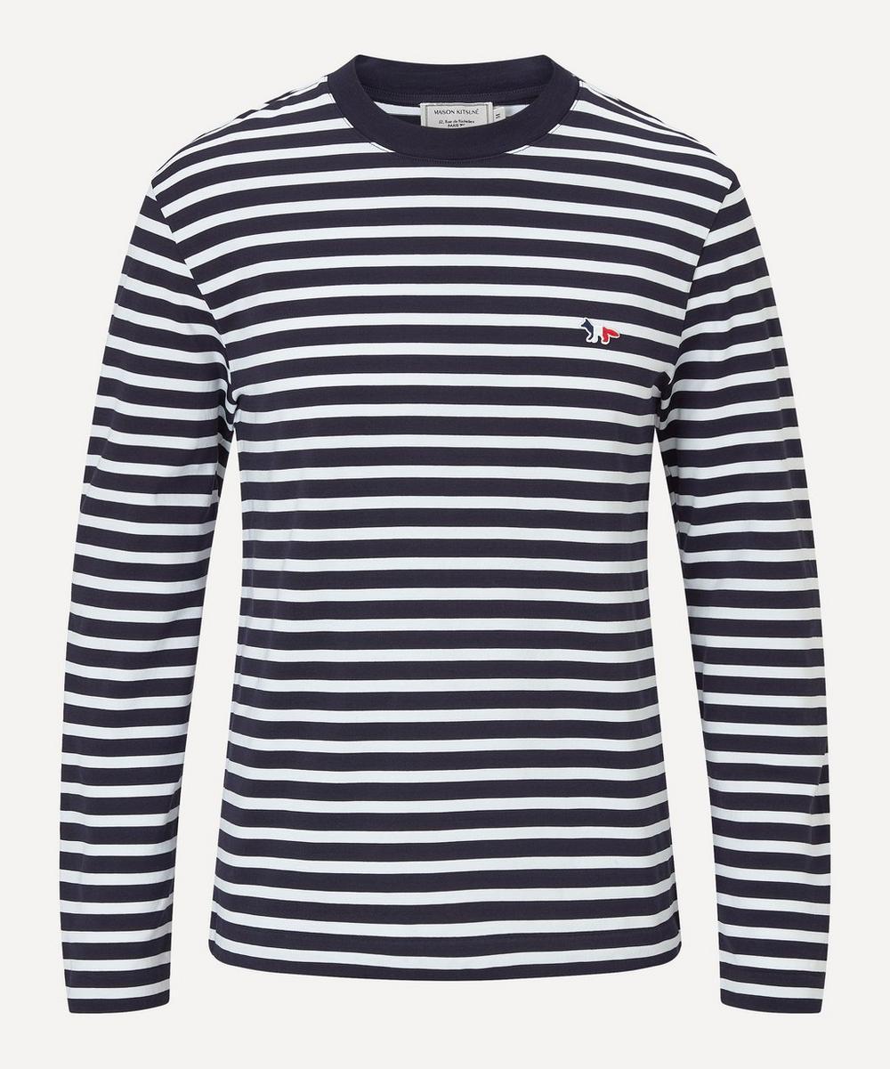 Maison Kitsuné - Long Sleeve Tricolour Fox Stripe T-Shirt