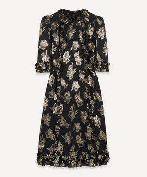 The Cate Floral-Jacquard Ruffled Midi-Dress
