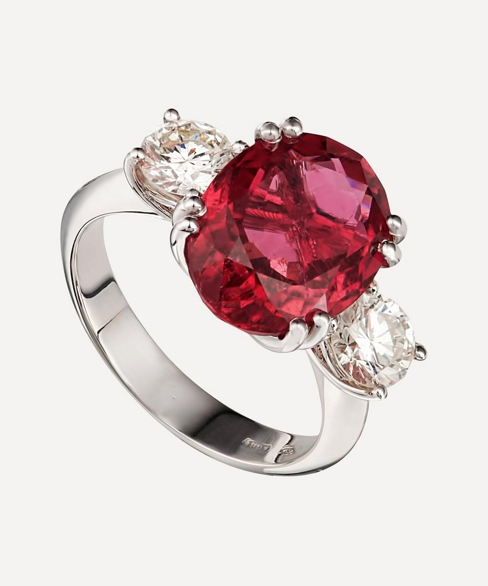 Kojis - White Gold Pink Tourmaline and Diamond Ring