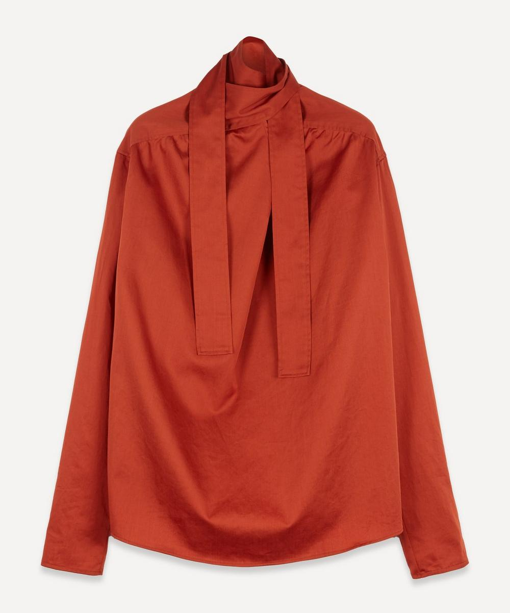 Lemaire - Tie-Neck Cotton Satin Blouse